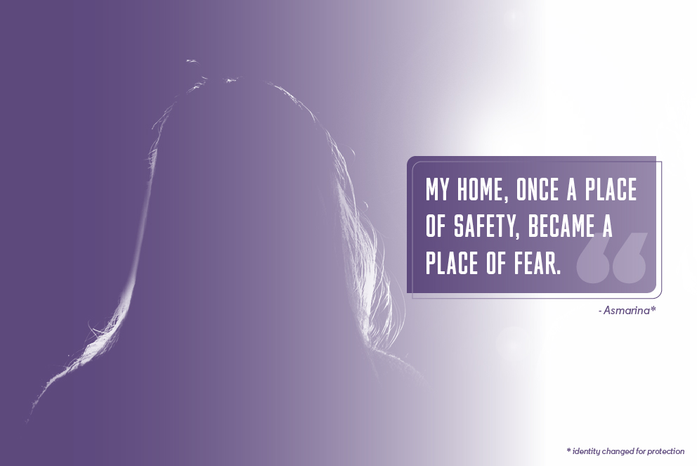 The back of a woman's head with the quote 'My home, once a place of safety, became a place of fear.